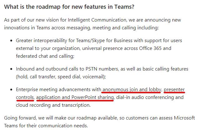 Microsoft Teams Roadmap - osallistavat ominaisuudet