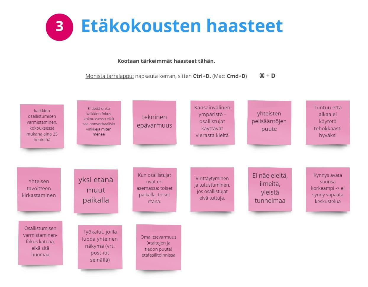 Etäkokousten haasteet: visualisointi. Vinkki: käytä chattia, Word-dokumenttia tai digitaalista valkotaulua keskustelun visualisoimiseen.