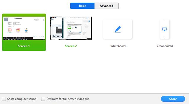 Zoom screen share